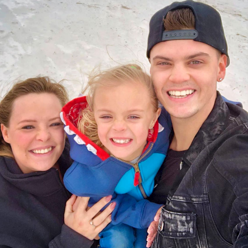 """Teen Mom OG Tots: How They've Grown - Before Novalee's little sister, Vaeda Luma, arrived in February 2019, Baltierra shared this sweet shot with his wife and little one. """"As I look back on this past year, I'm reminded how blessed I am regardless of all the hard times we have experienced,"""" the reality star wrote."""