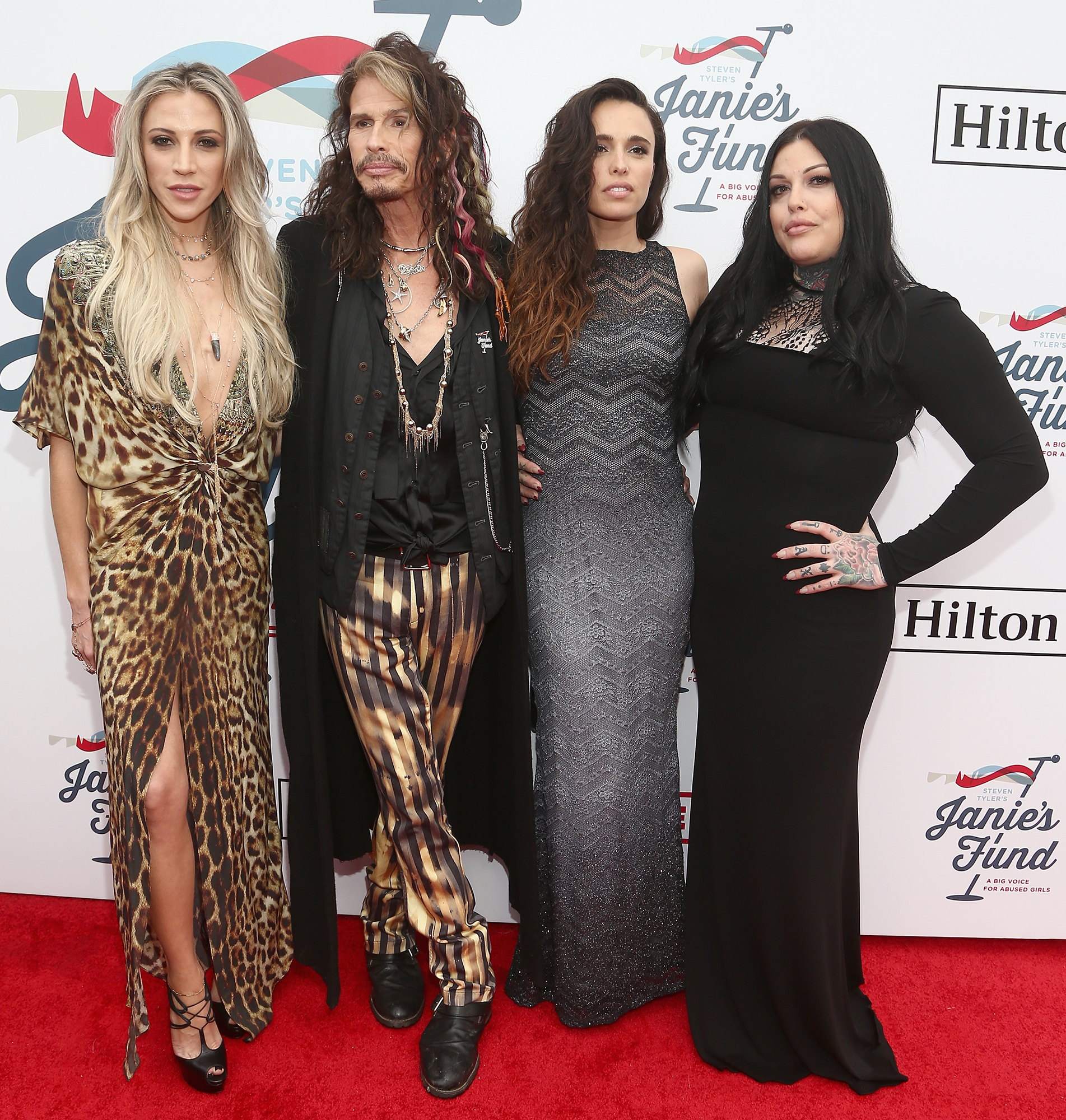 Aimee Preston Steven Tyler Chelsea Tyler Mia Tyler STARS BRINGING FAMILY TO GRAMMYS 2019 - The musician and his partner, Aimee Preston, posed for pics with two of Tyler's three daughters at a Grammys after-party.