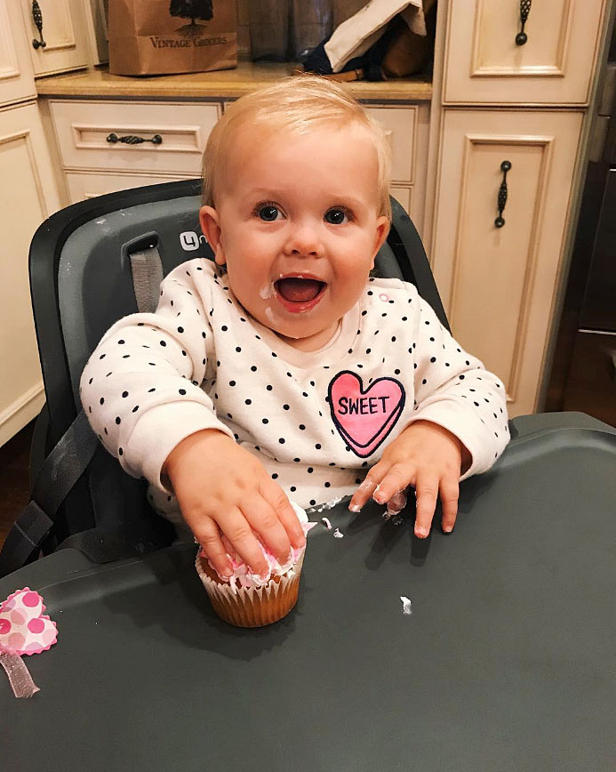 Cute Celebrity Kids Celebrating Valentine's Day - Robin Thicke and April Love Geary's daughter ate a festive cupcake on February 14.