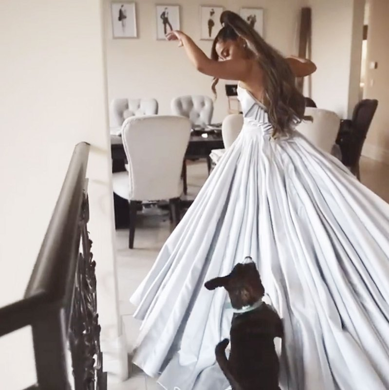 grammys 2019 ariana grande lounges at home in custom dress grammys 2019 ariana grande lounges at