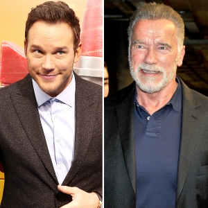 Arnold-Schwarzenegger-and-Chris-Pratt-nervous