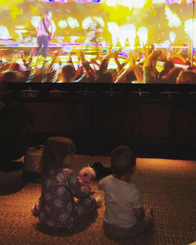 Behati Prinsloo Shares Sweet Pic of Kids Watching Dad Adam Levine Performing at the Super Bowl: 'We Love You' - Behati Prinsloo shared a picture of the children watching Adam Levine of Maroon 5 perform at Super Bowl 53.