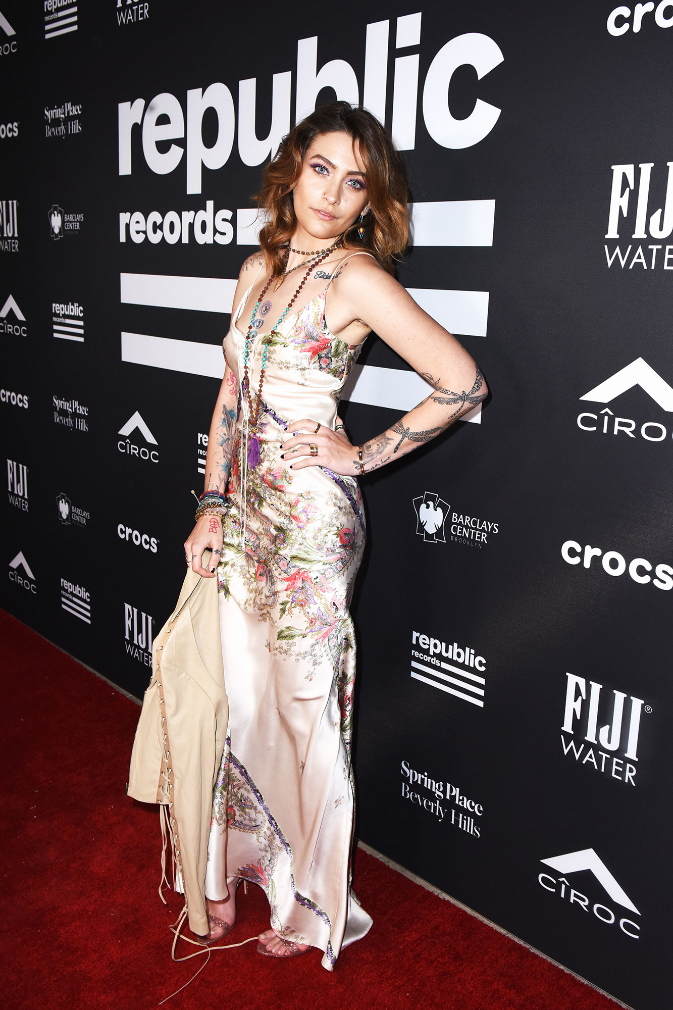 grammys 2019 Paris Jackson - The daughter of Michael Jackson went to the FIJI Water At Republic Records Grammy party in a silky spaghetti strap dress.