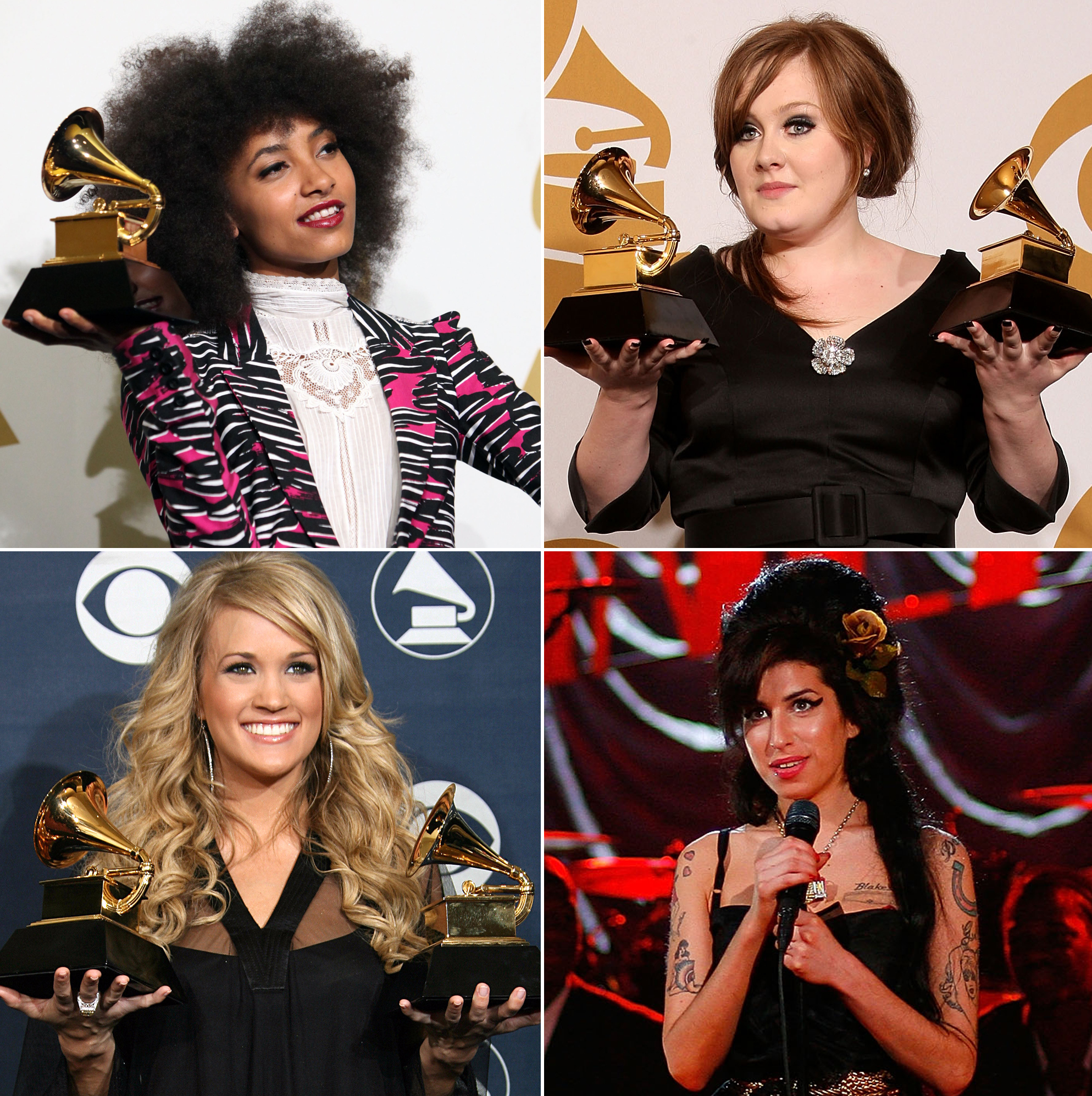 Best New Artist Grammy Winners Where Are They Now - Musician Esperanza Spalding poses in the press room at The 53rd Annual GRAMMY Awards held at Staples Center on February 13, 2011 in Los Angeles, California. Winner of Best New Artist and Best Female Country Vocal Performance Carrie Underwood poses with the trophies at the 49th Grammy Awards in Los Angeles 11 February, 2007.