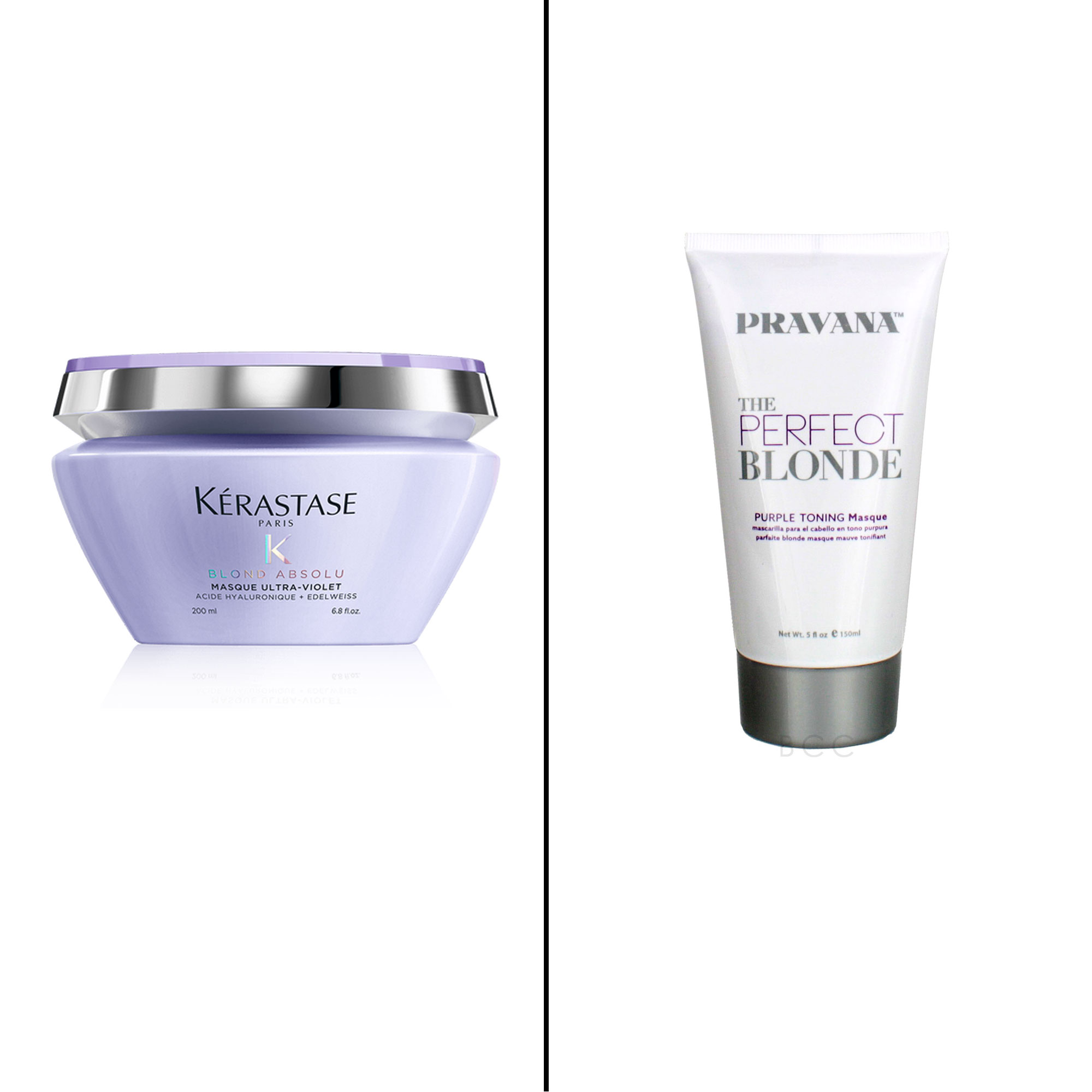 Splurge vs. Save: Salon-Worthy Hair Treatments For Every Type of Need - Splurge: Kerastase Blond Absolu Masque Ultra-Violet Purple Hair Masque The bright violet shade of this mask neutralizes brassy undertones for silky, cool blonde strands. $59, kerastase-use.com Save: Pravana The Perfect Blonde Masque Using the same color-correcting technique, this purple mask tones blonde and silver highlights for the perfect cool shade.