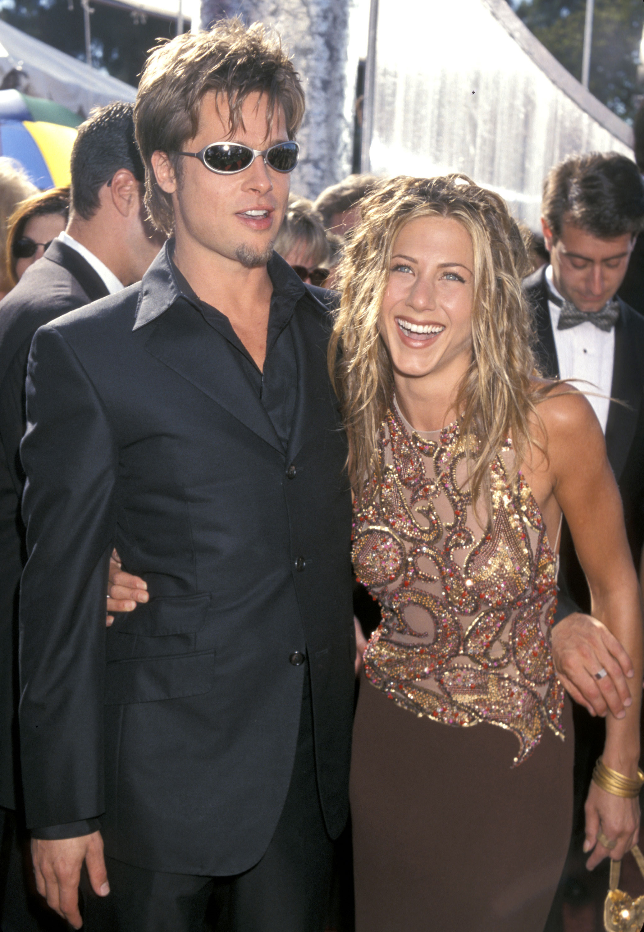 Brad Pitt and Jennifer Aniston Relationship Timeline - The power couple iconically made their debut on red carpet for the 51st Primetime Emmy Awards. Aniston's series, Friends , was up for Outstanding Comedy Series at the time, but lost to Ally McBeal .