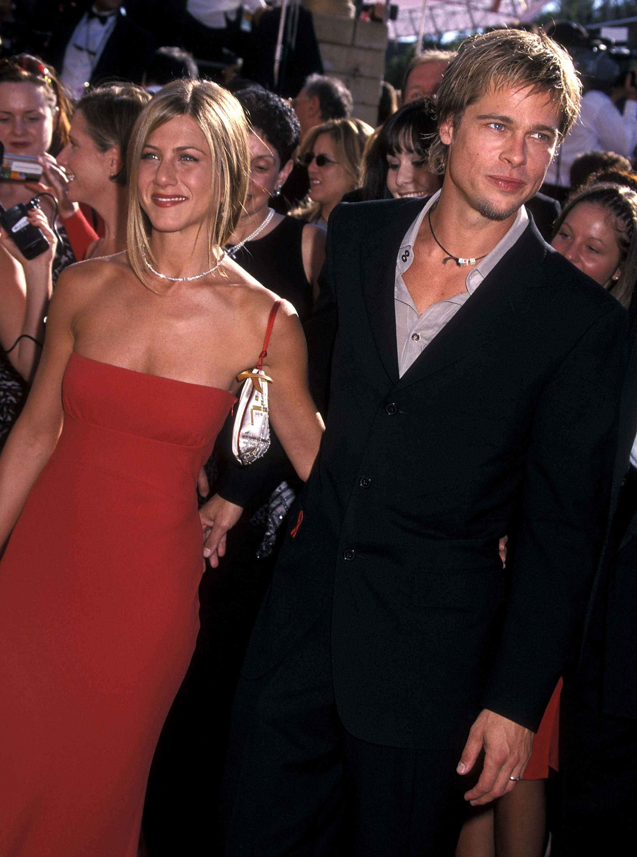 Brad Pitt and Jennifer Aniston Relationship Timeline - The newlyweds hit up the 52nd Primetime Emmy Awards, where Aniston was up for Outstanding Supporting Actress in a Comedy Series ( Friends ). She lost the prize to Megan Mullally ( Will & Grace ).