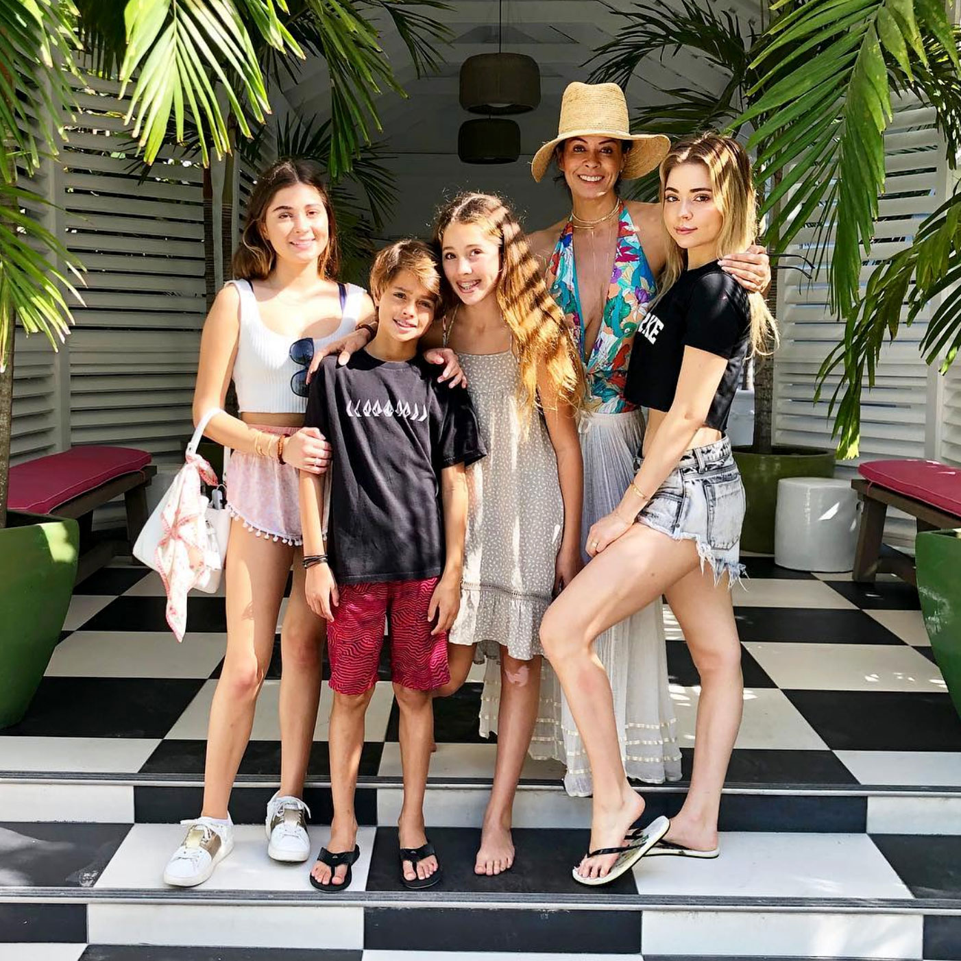 Brooke Burke Reveals Key to Parenting 4 Kids - Brooke Burke and children at Harbour Island, Harbour Island, Bahamas.
