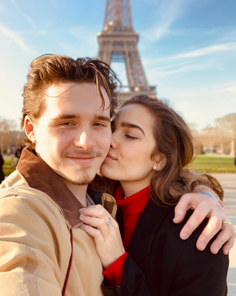 "Brooklyn-Beckham-and-Hana-Cross valentines day - Beckham showed some love for his lady, whom he has been dating since October. ""Me and my girl,"" he captioned an Instagram photo of himself with the model in front of the Eiffel Tower."