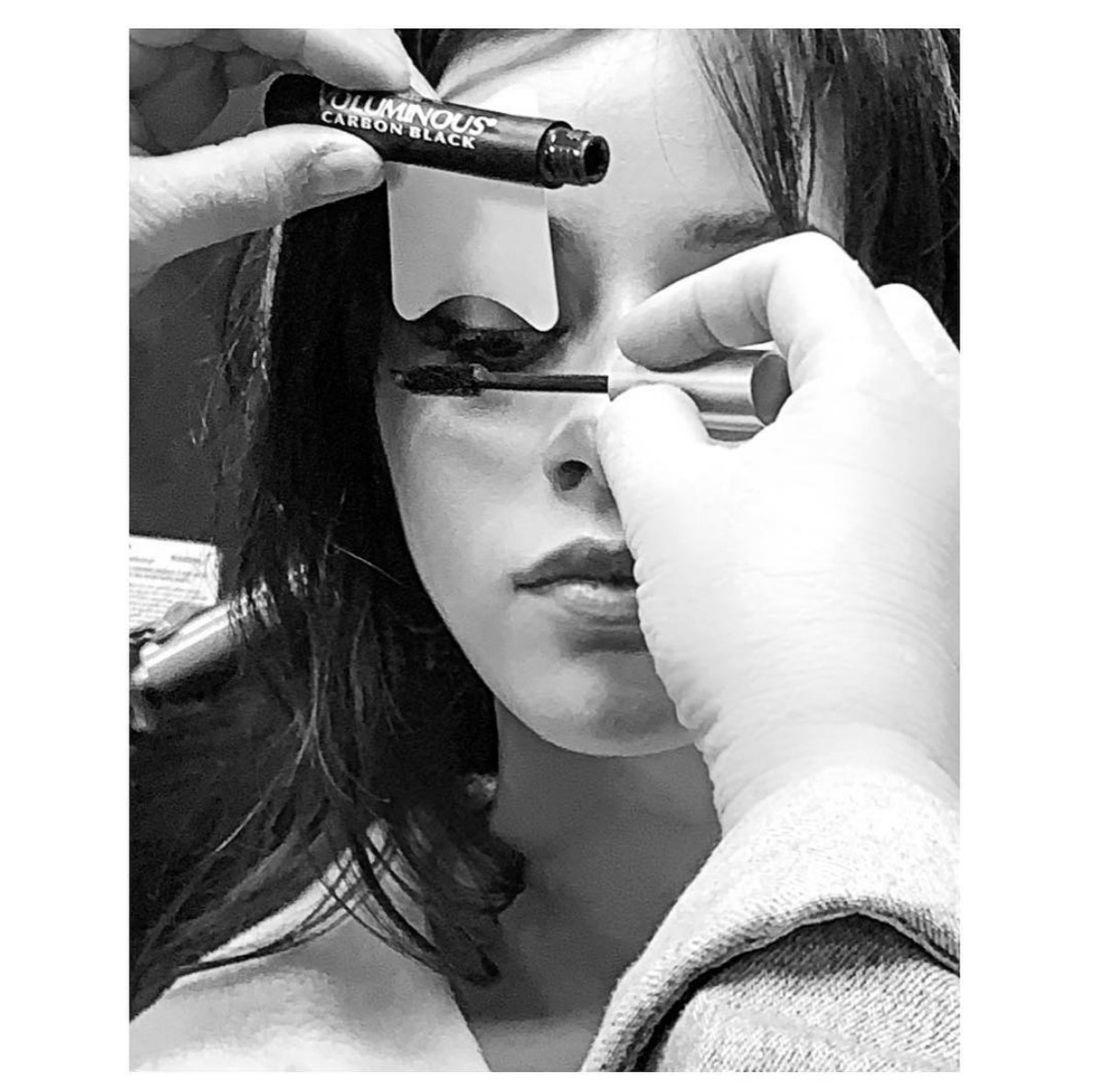 "Camila-Cabello-grammys-2019 - Makeup artist Allen Avendano gave a sneak peek of the ""Havana"" singer's look in black and white featuring L'Oreal Voluminous Carbon Mascara with the caption, ""Things just got lit."""