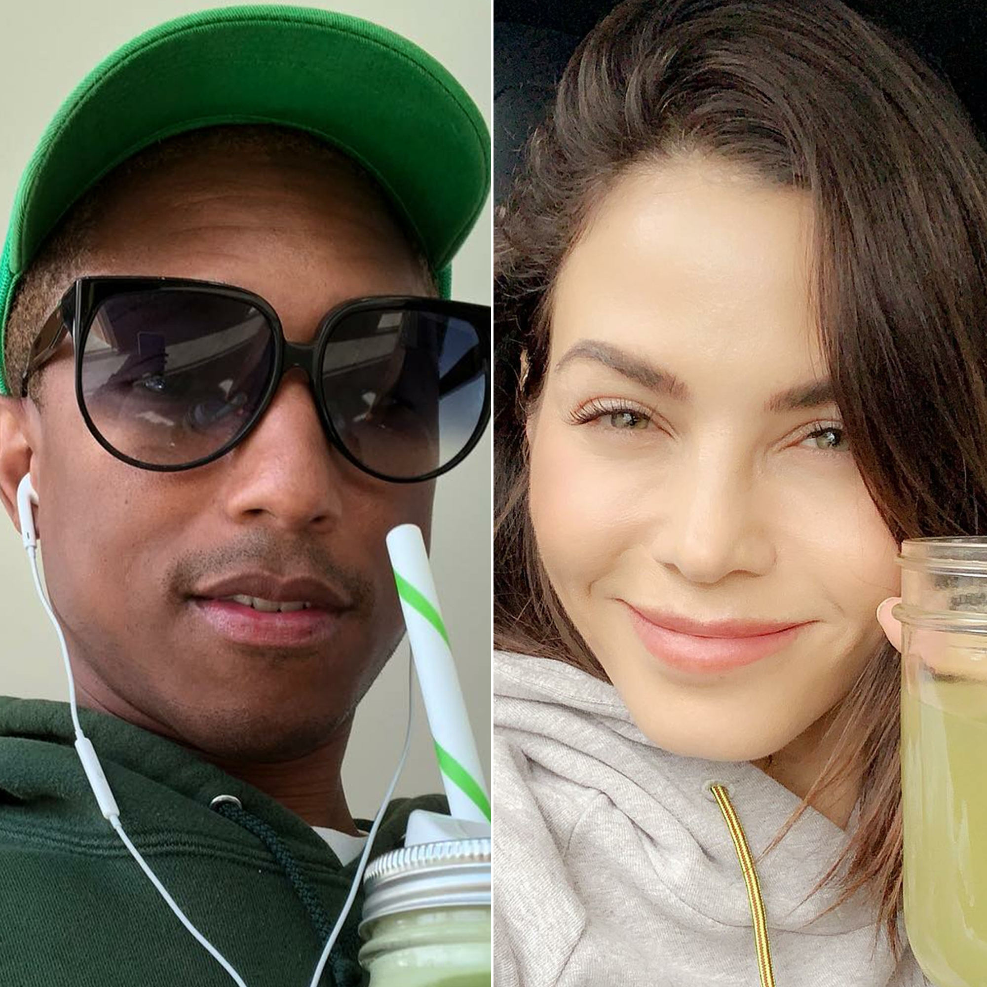 Celebrities Who Swear by Celery Juice: Pharrell Williams, Jenna Dewan and More Drink the Wellness Trend - Pharrell Williams and Jenna Dewan with their celery juice.