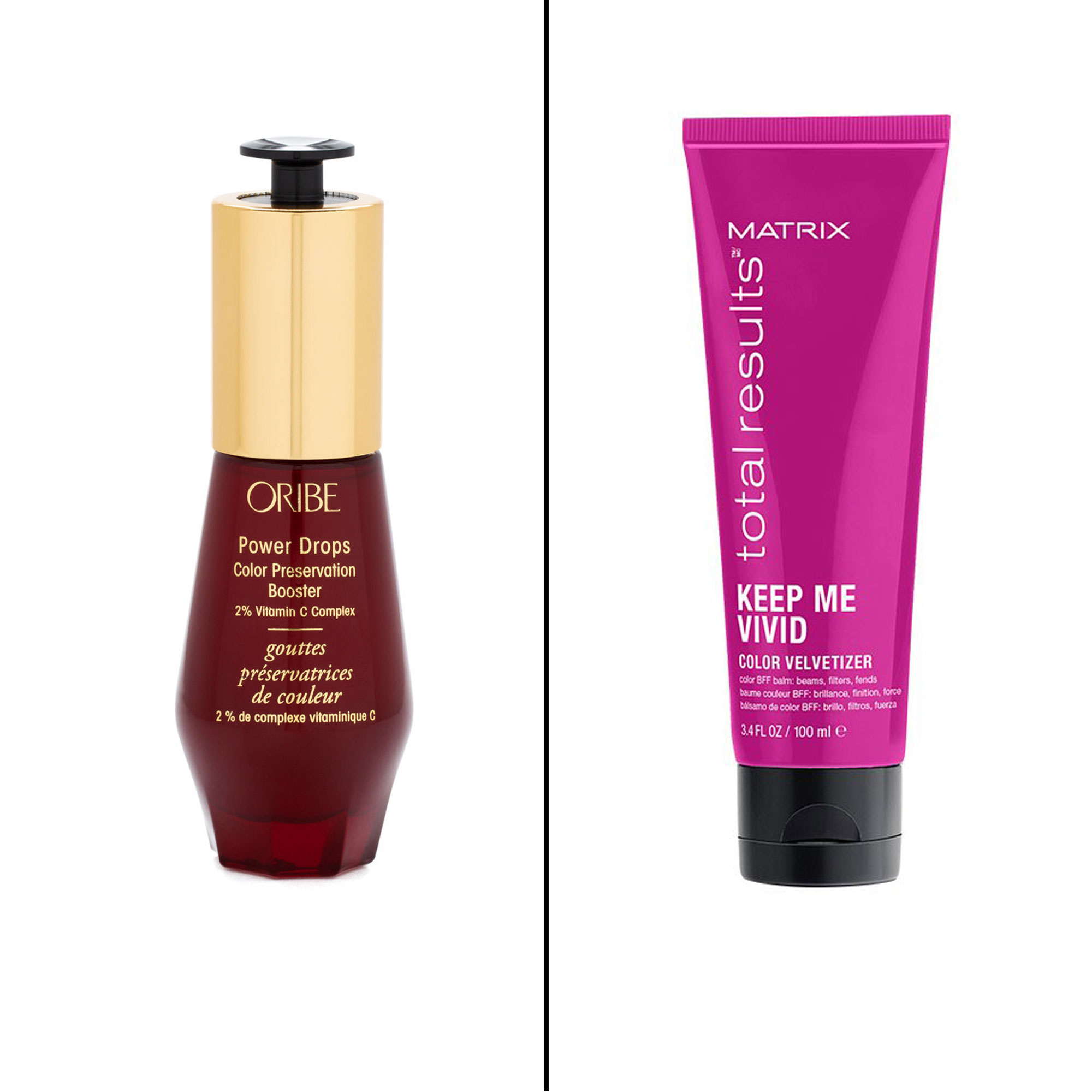 Splurge vs. Save: Salon-Worthy Hair Treatments For Every Type of Need - Splurge: Oribe Power Drops Color Preservation Booster A small drop of this concentrated treatment will keep every color shade vibrant and bright thanks to vitamin C, bioflavonoids and quinoa protein. $58, oribe.com Save: Matrix Total Results Keep Me Vivid Color Velvetizer This cream protects against UV and heat to keep fresh color, well, fresh!