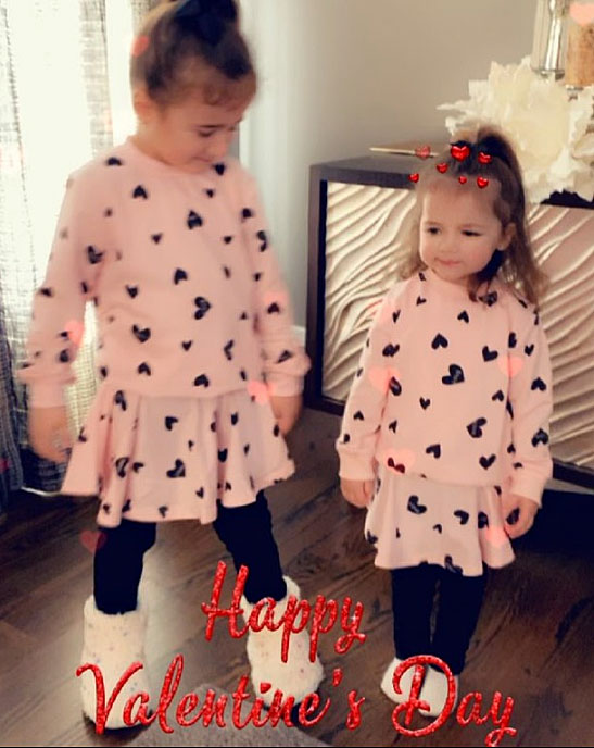 Alena and Valentina Jonas Cute Celebrity Kids Celebrating Valentine's Day - Kevin Jonas' daughters wished him a happy Valentine's Day in matching pink dresses.
