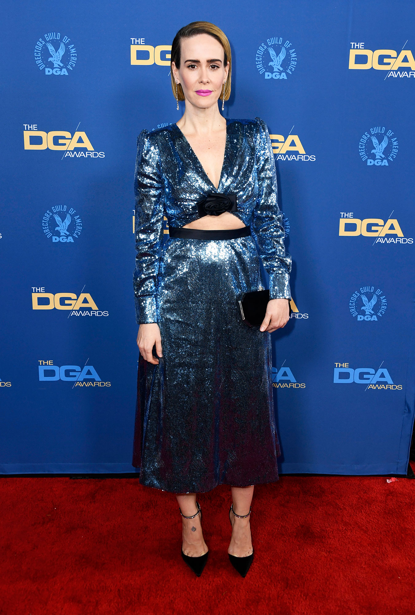 Sarah Paulson attends the 71st Annual Directors Guild Of America Awards at The Ray Dolby Ballroom at Hollywood - The American Horror Story actress looked gorgeous in a shiny blue dress with a cutout in the stomach that flashed just the smallest bit of skin.