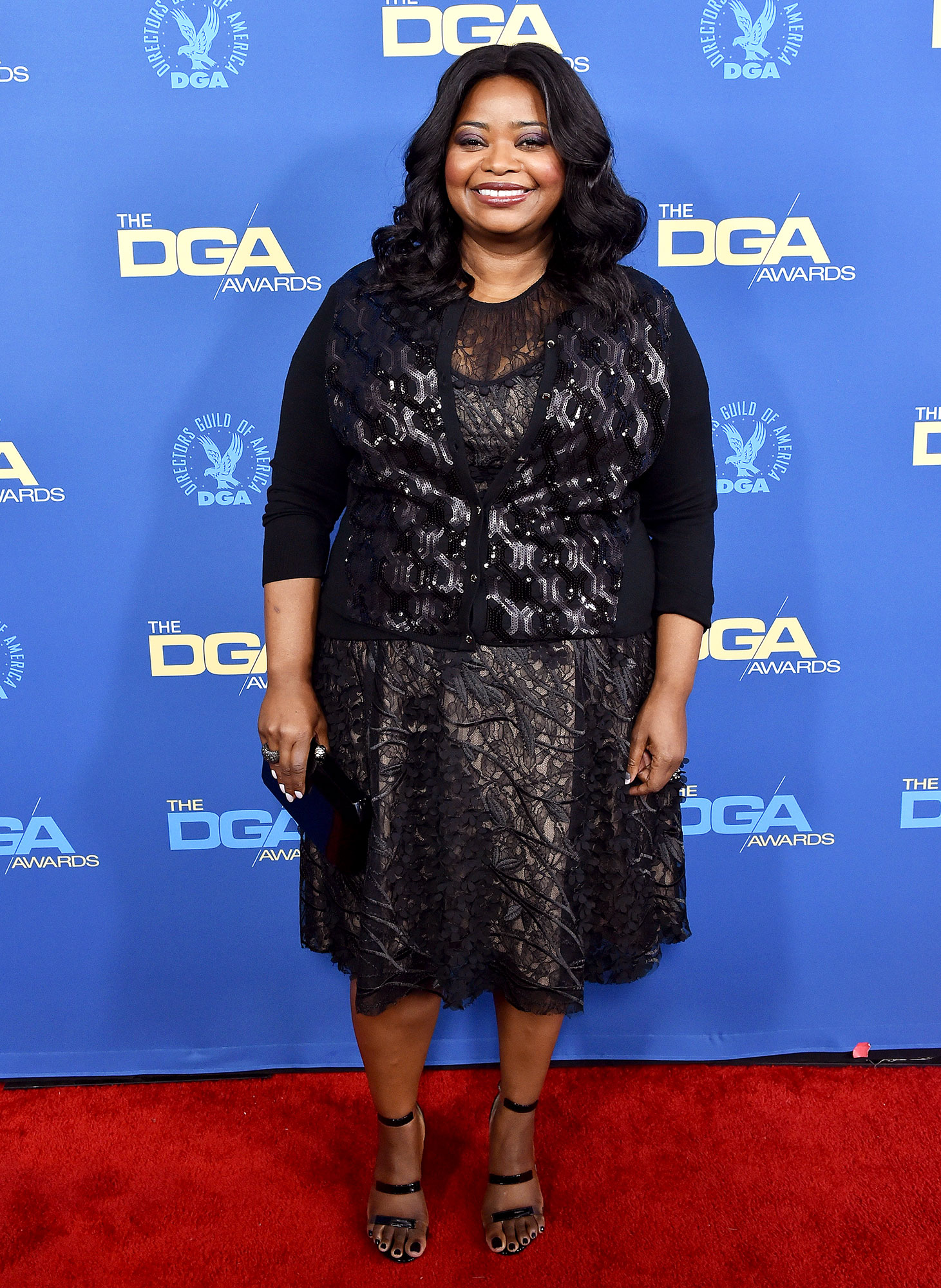 Octavia Spencer attends the 71st Annual Directors Guild of America Awards at The Ray Dolby Ballroom at Hollywood - The Help actress kept it simple in a knee-length black dress which she paired with strappy black heels.