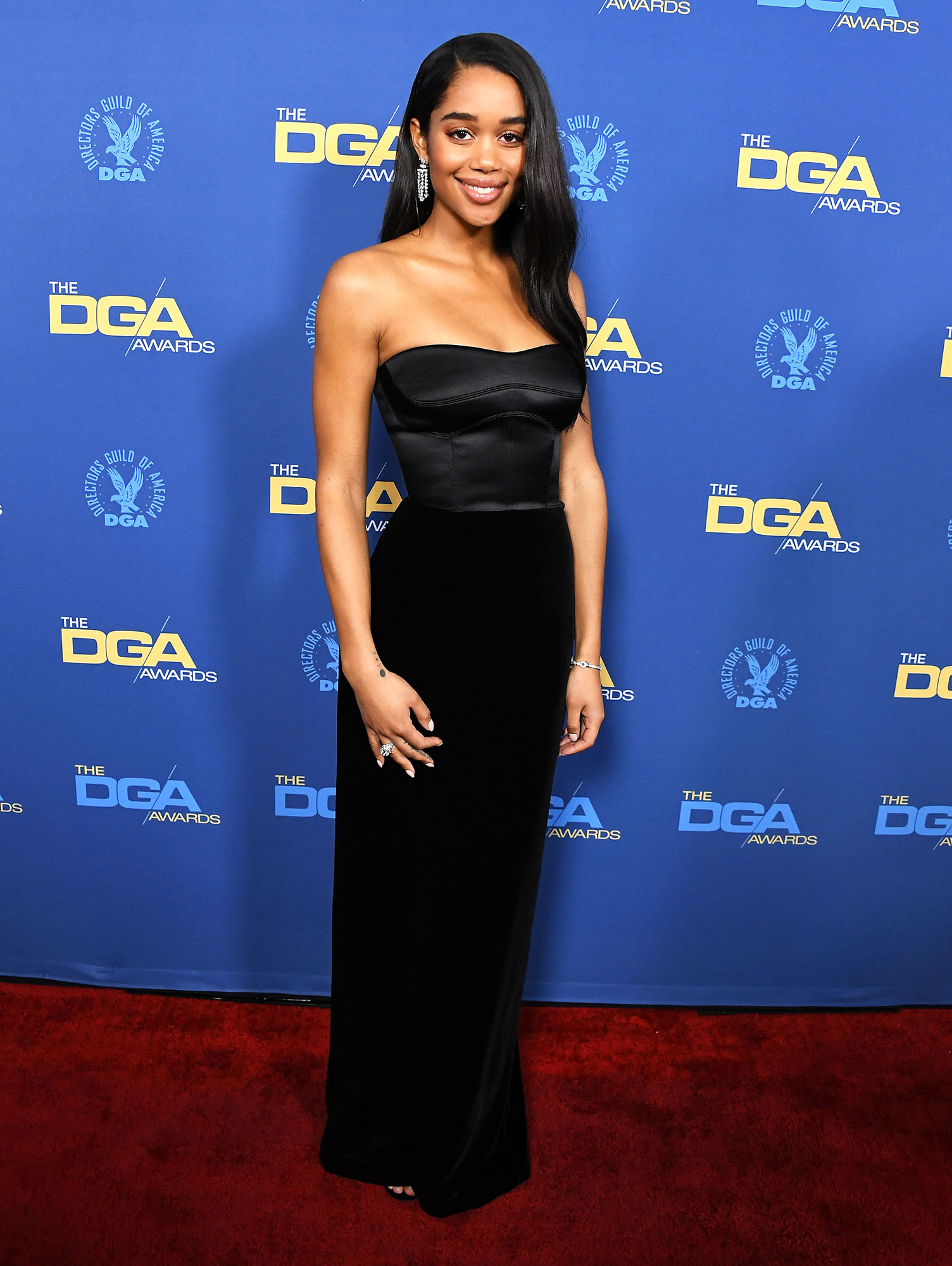 Laura Harrier attends the 71st Annual Directors Guild Of America Awards at The Ray Dolby Ballroom at Hollywood - The Blackkklansman actress wore a sleek black Brandon Maxwell dress that was incredibly chic.