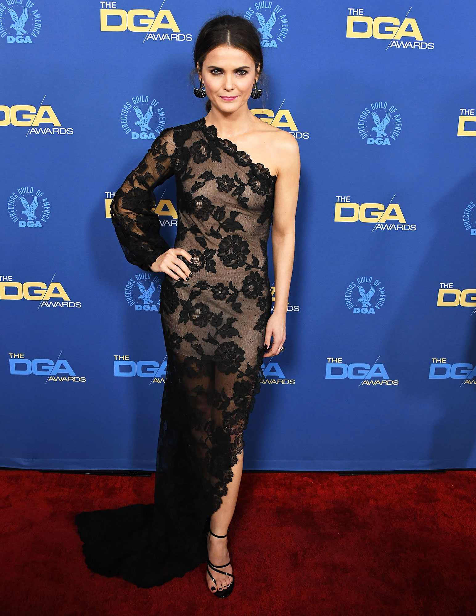 Keri Russell attends the 71st Annual Directors Guild Of America Awards at The Ray Dolby Ballroom at Hollywood - Always a red-carpet standout, the Americans actress didn't disappoint in a sheer black lace number that's both classy and sexy.