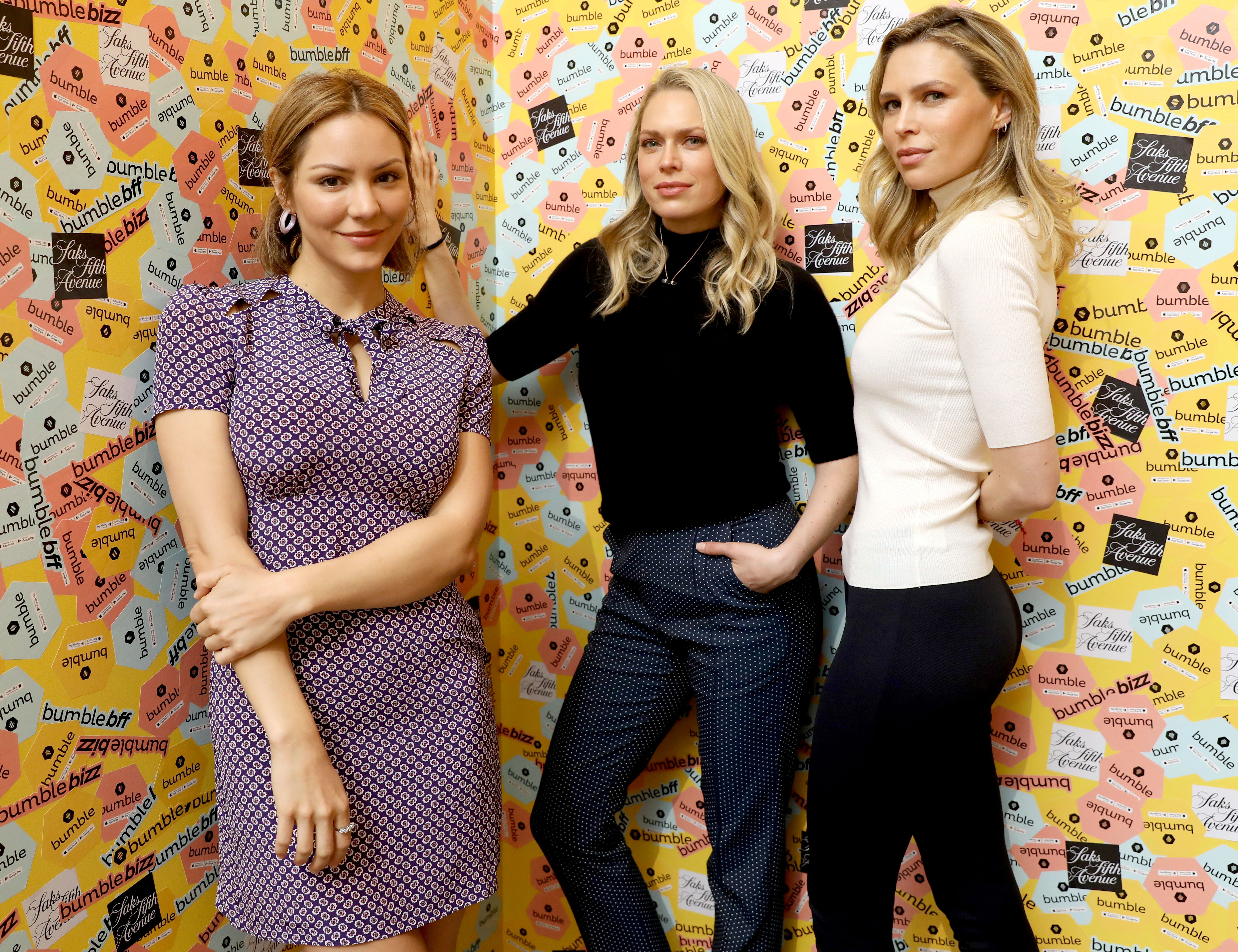 Erin and Sara Foster Talk Katharine McPhee's Confidence-1 - Katharine McPhee, Erin Foster, and Sara Foster attend a panel discussion on power dressing with Bumble's Sara & Erin Foster and designer Andrea Lieberman hosted by Saks at Saks Fifth Avenue on May 18, 2018 in New York City.