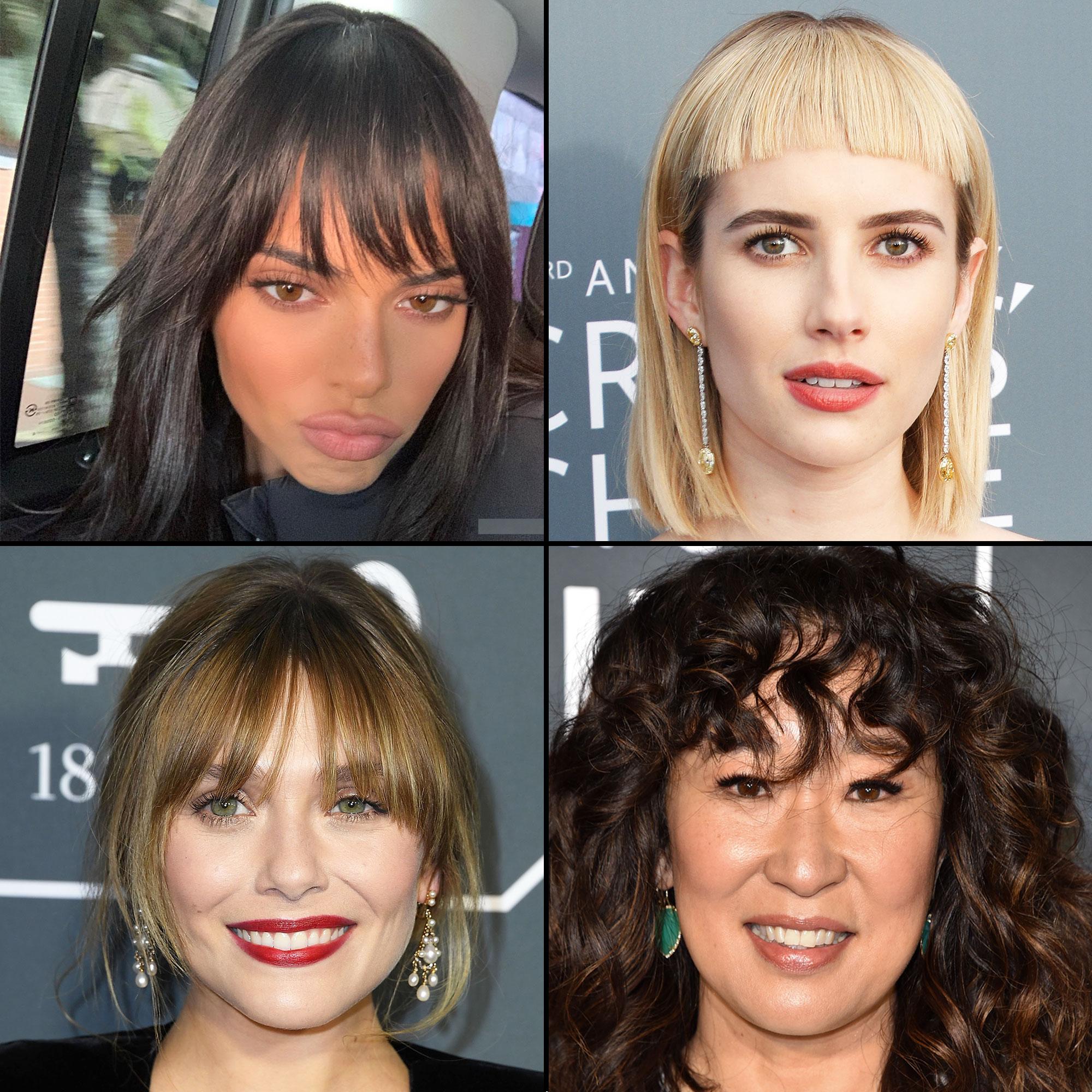 Celebrity Bangs: Fierce Fringe Inspo For Your Next Haircut Kendall Jenner, Emma Roberts, Elizabeth Olsen and Sandra Oh - Kendall Jenner, Emma Roberts, Elizabeth Olsen and Sandra Oh