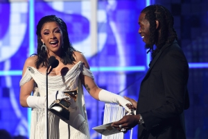 Grammys 2019: Offset Joins Cardi B on Stage After She Wins Best Rap Album