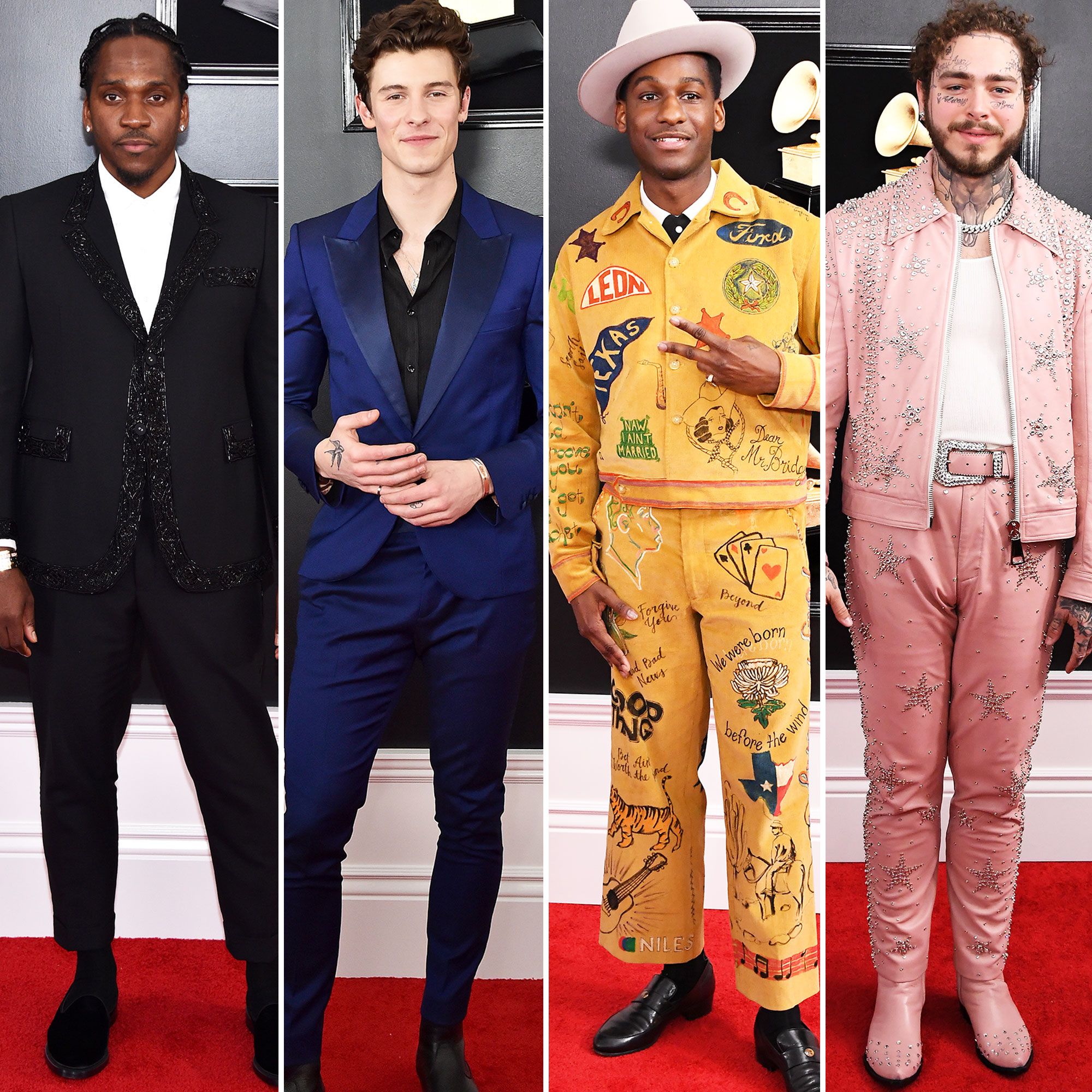 Pusha T, Shawn Mendes, Leon Bridges and Post Malone grammys 2019 - Pusha T, Shawn Mendes, Leon Bridges and Post Malone