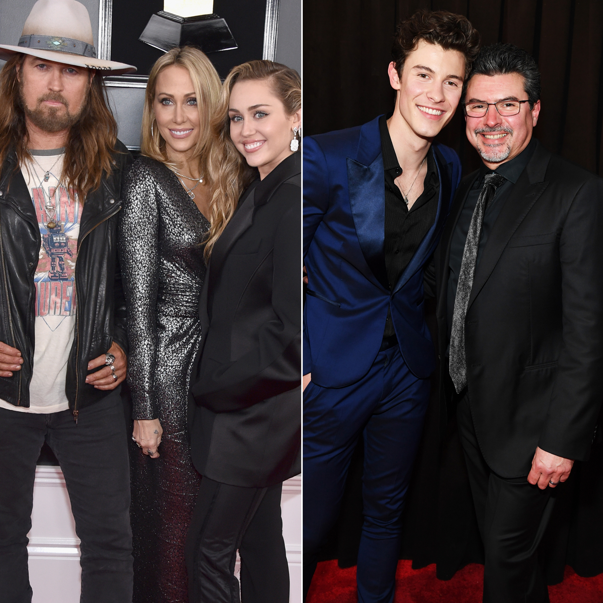 Grammys 2019: Shawn Mendes, Miley Cyrus and More Stars Who Brought Family Members as Dates - Billy Ray Cyrus, Tish Cyrus, and Miley Cyrus, along with Shawn Mendes and Manuel Mendes at the 61st Annual GRAMMY Awards at Staples Center on February 10, 2019 in Los Angeles, California.