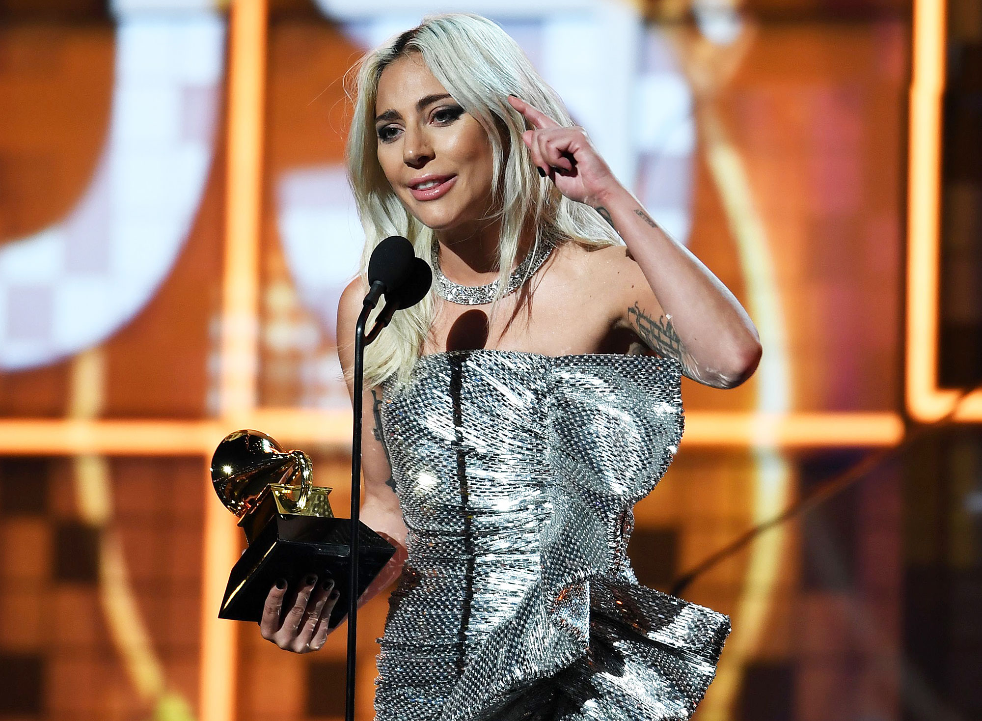 """Grammys 2019 Winners List Lady Gaga - Lady Gaga accepts the award for Best Pop Duo/Group Performance with """"Shallow"""" during the 61st Annual Grammy Awards on February 10, 2019, in Los Angeles."""