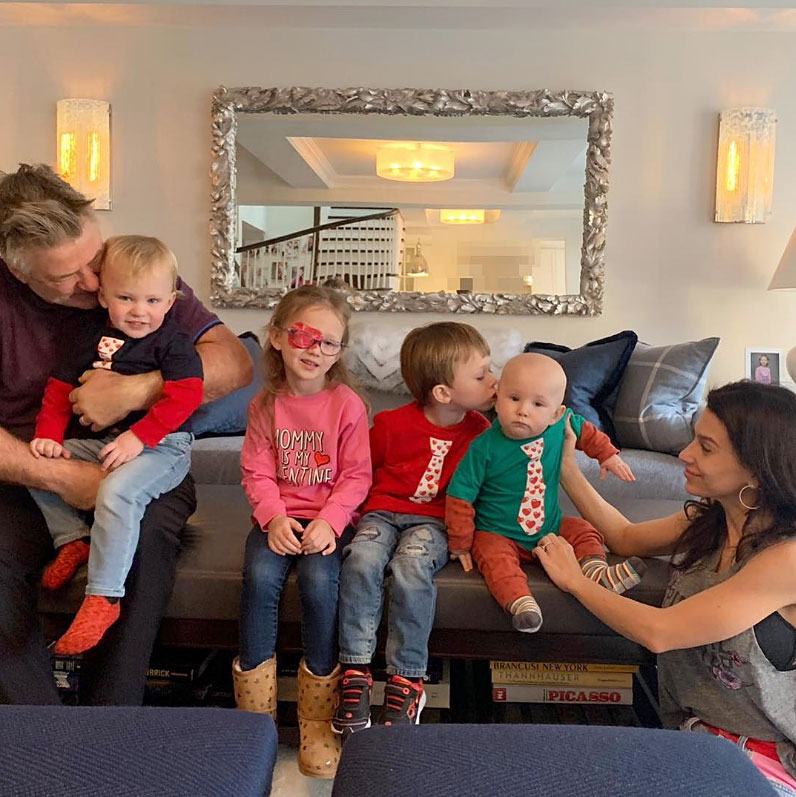Baldwin Cute Celebrity Kids Celebrating Valentine's Day - Hilaria and Alec Baldwin celebrated Valentine's Day with a fun family photo of all four of their kids.