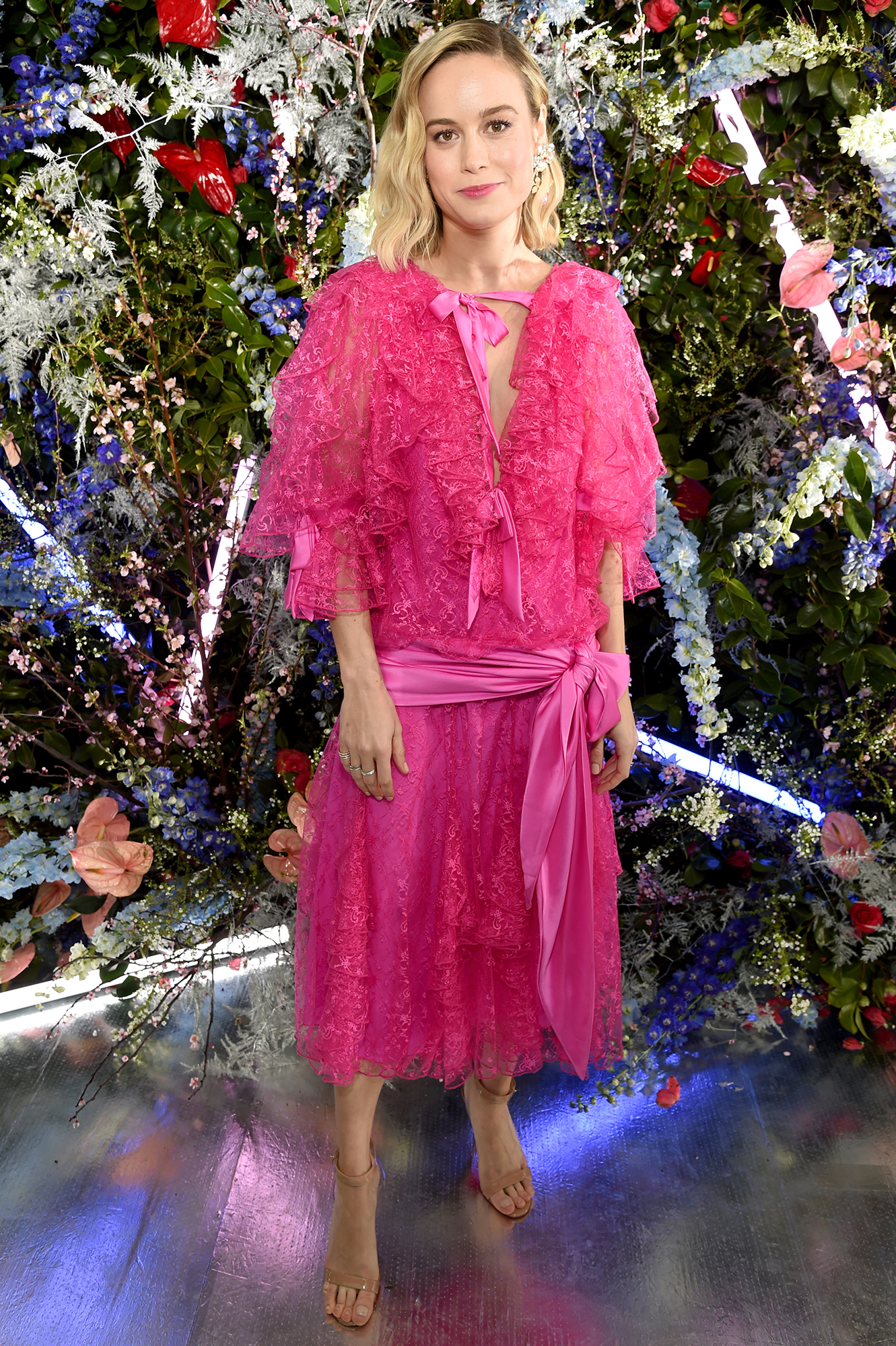 Hollywood's Freshest Faces Were Front Row at the Rodarte Show - The Captain Marvel star had Us thinking pink with her drapey bow-adorned frock.