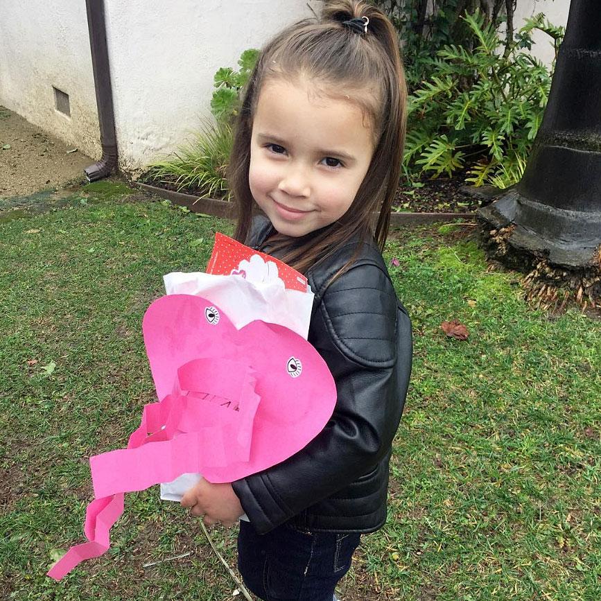 "Cute Celebrity Kids Celebrating Valentine's Day - ""My beautiful Valentine,"" Jana Kramer captioned a photo of her daughter in a leather jacket."
