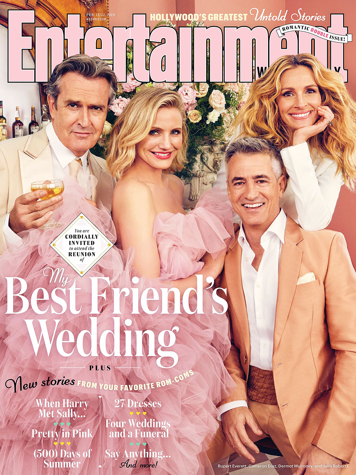 Rupert Everett Cameron Diaz Dermot Mulroney Julia Roberts My Best Friend's Wedding Reunion Entertainment Weekly Cover - Rupert Everett, Cameron Diaz, Dermot Mulroney and Julia Roberts on the cover of Entertainment Weekly.