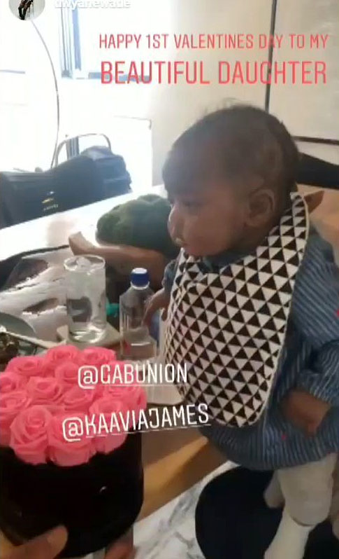 Cute Celebrity Kids Celebrating Valentine's Day - Gabrielle Union and Dwyane Wade 's daughter celebrated her very first Valentine's Day with a bouquet of pink roses.