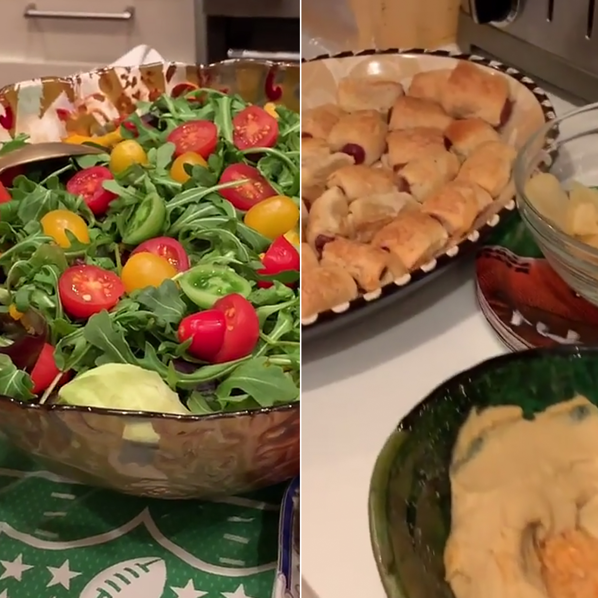 "Kelly Ripa, Bethenny Frankel and More Share Their Super Bowl Sunday Eats - The Today Show cohost threw an ""impromptu"" Super Bowl party with a myriad of food items. Judging by a post on Instagram the menu included salad, tomatoes and mozzarella, glazed ham, chicken wings, macaroni and cheese, pigs in a blanket and plenty of chips and dips."