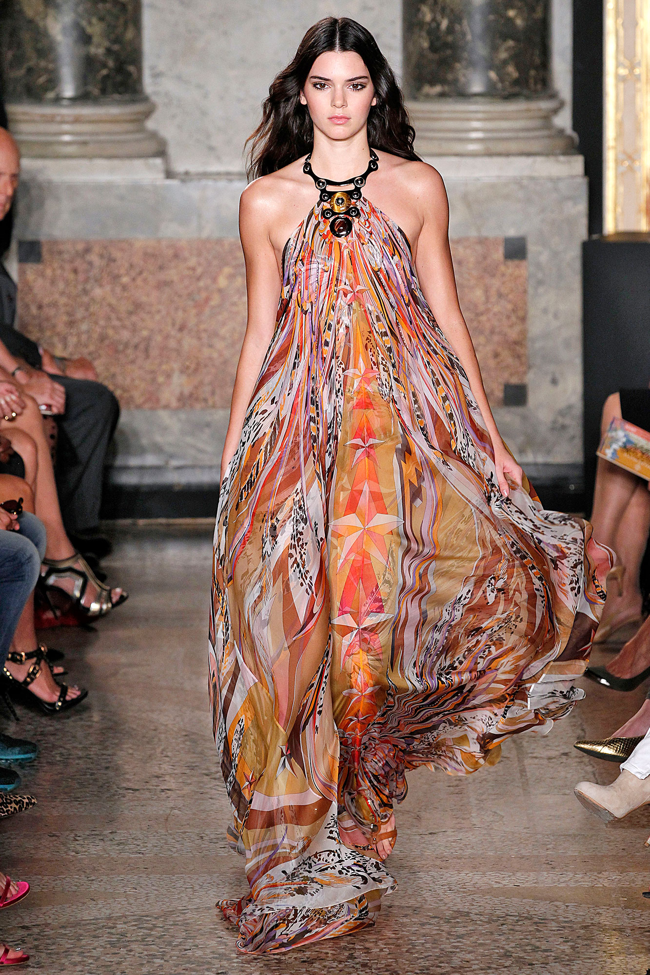 Kendall Jenner through the years - Kendall wowed the Milan Fashion Week crowd in 2014 as she modeled this flowing Pucci dress.