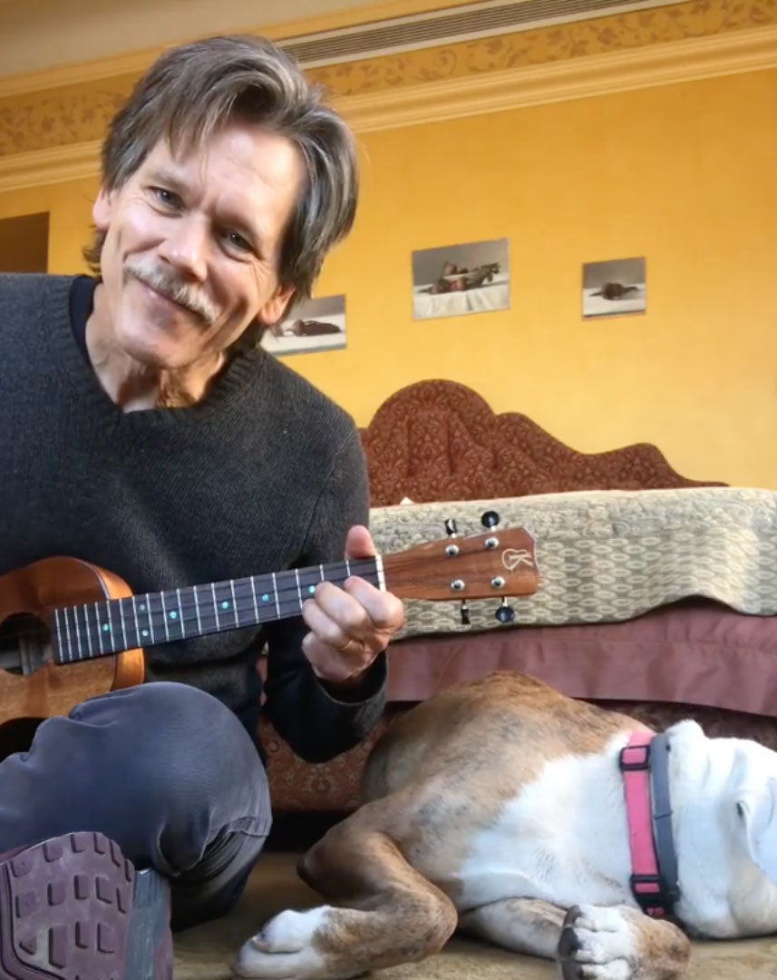 "Kevin Bacon Celeb V-Day gallery - On Instagram, the Following alum posted a video of himself singing a cover of Joni Mitchell's ""A Case of You"" on a ukulele he said was gifting to the former star of The Closer , his wife of 30 years. ""OK, we don't really do Valentine's Day in my family, so shh, don't tell Kyra that I got her this little Valentine's Day present,"" he told followers in the clip."