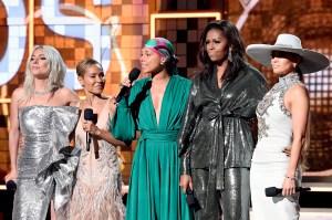 Lady-Gaga,-Jada-Pinkett-Smith,-Alicia-Keys,-Michelle-Obama,-and-Jennifer-Lopez-grammys-2019