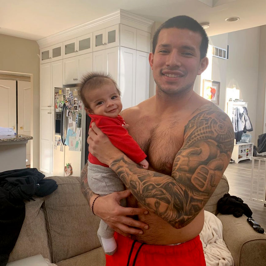 """Eli Marroquin Cute Celebrity Kids Celebrating Valentine's Day - """"My two valentines this morning, I am one lucky momma,"""" Lauren Comeau captioned a father-son photo of Teen Mom 2 's Javi Marroquin and his baby boy."""