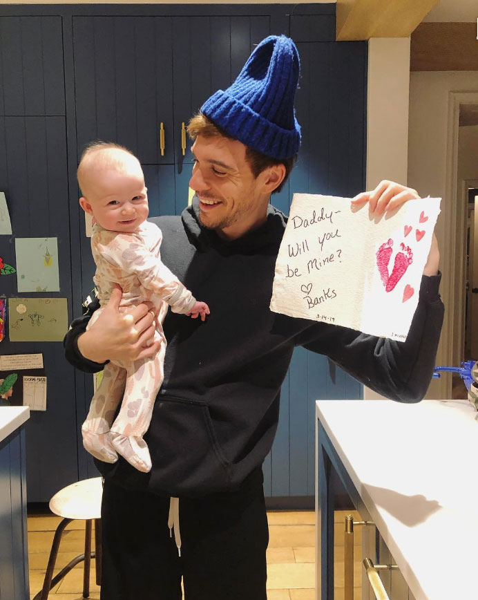 """Banks Bair Cute Celebrity Kids Celebrating Valentine's Day - Hilary Duff 's daughter was all smiles in her dad's arms. Matthew Koma held up a napkin that read, """"Daddy — will you be mine?"""""""