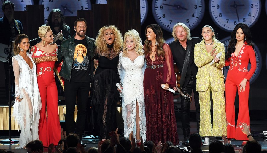 Grammys 2019 Dolly Parton, Maren Morris; Katy Perry; Jimi Westbrook, Kimberly Schlapman, Karen Fairchild, and Philip Sweet of Little Big Town; Miley Cyrus; and Kacey Musgraves