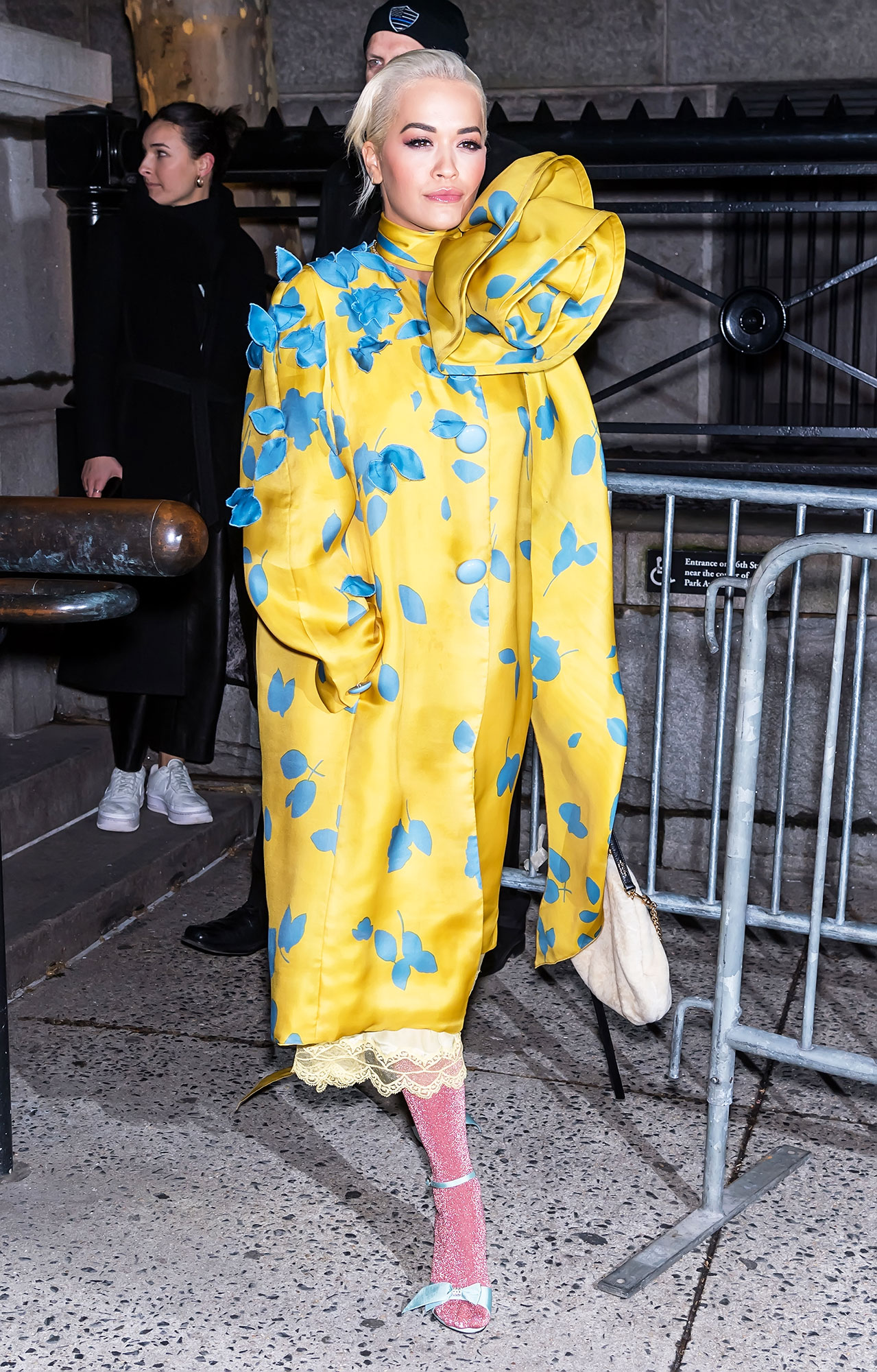nyfw new york fashion week Rita Ora - Going bold, the singer wore a bright yellow and blue dress donned with an oversized flower on the neckline to the Marc Jacobs show on February 13.