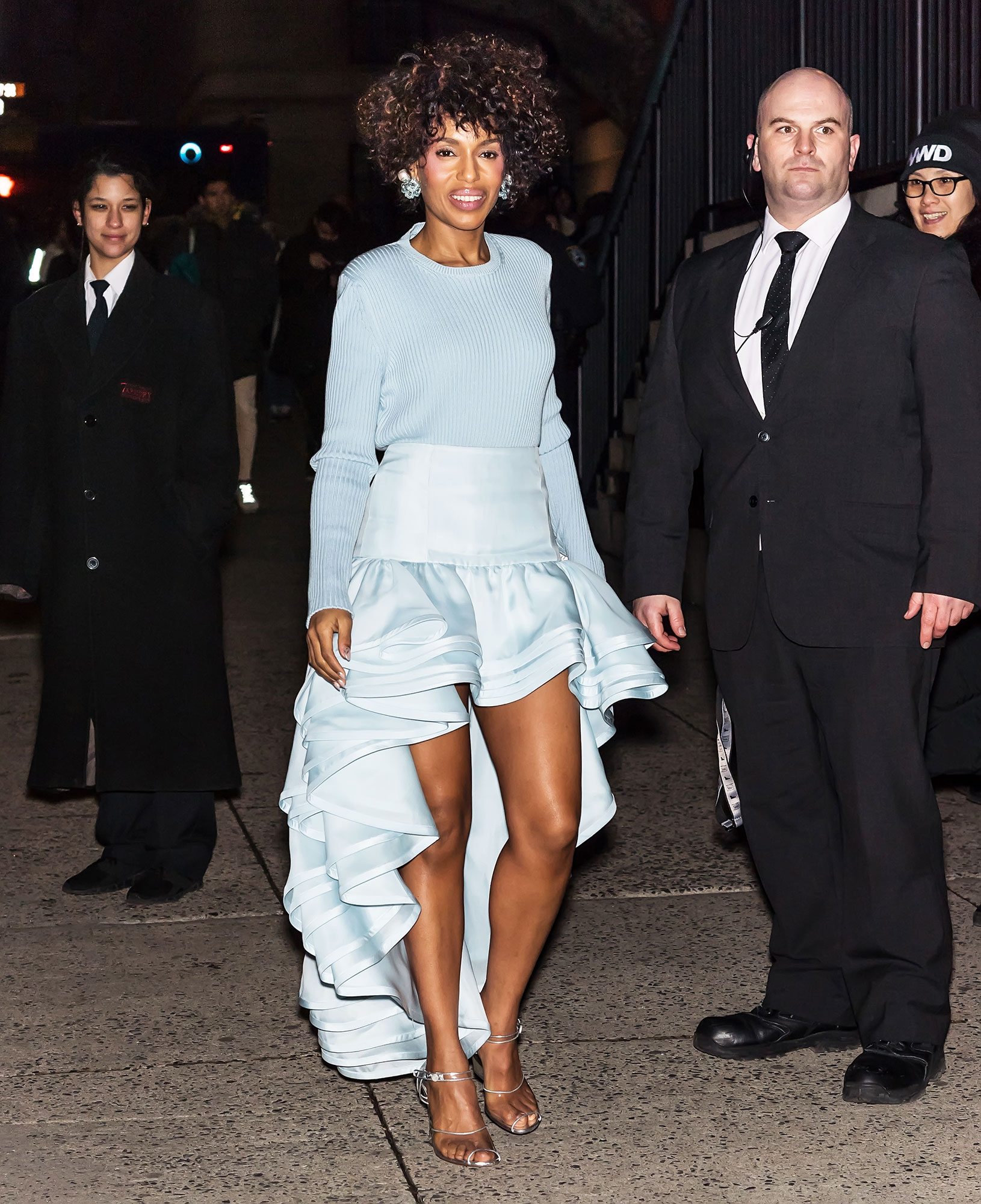 Kerry Washington nyfw new york fashion week - In her second outfit of the day, the actress attended the Marc Jacobs show on February 13 in a monochrome powder blue ensemble complete with a shiny high-low skirt and a slouchy sweater.