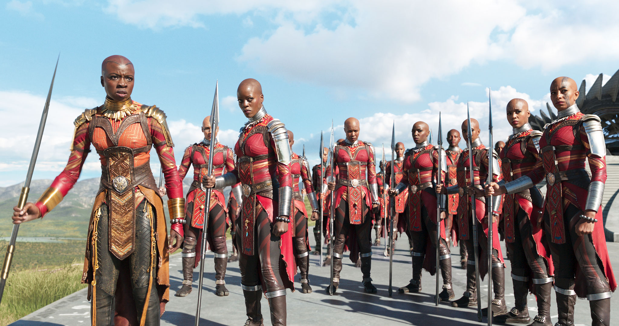 """Oscars 2019 Black Panther Costume Design - """"The Ballad of Buster Scruggs,"""" Mary Zophres """"Black Panther,"""" Ruth E. Carter """"The Favourite,"""" Sandy Powell """"Mary Poppins Returns,"""" Sandy Powell """"Mary Queen of Scots,"""" Alexandra Byrne"""