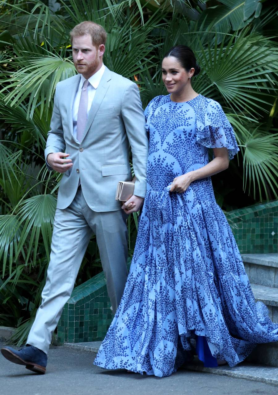 Pregnant Duchess Meghan Stuns in Blue With Prince Harry on Their Last Day in Morocco: Photos