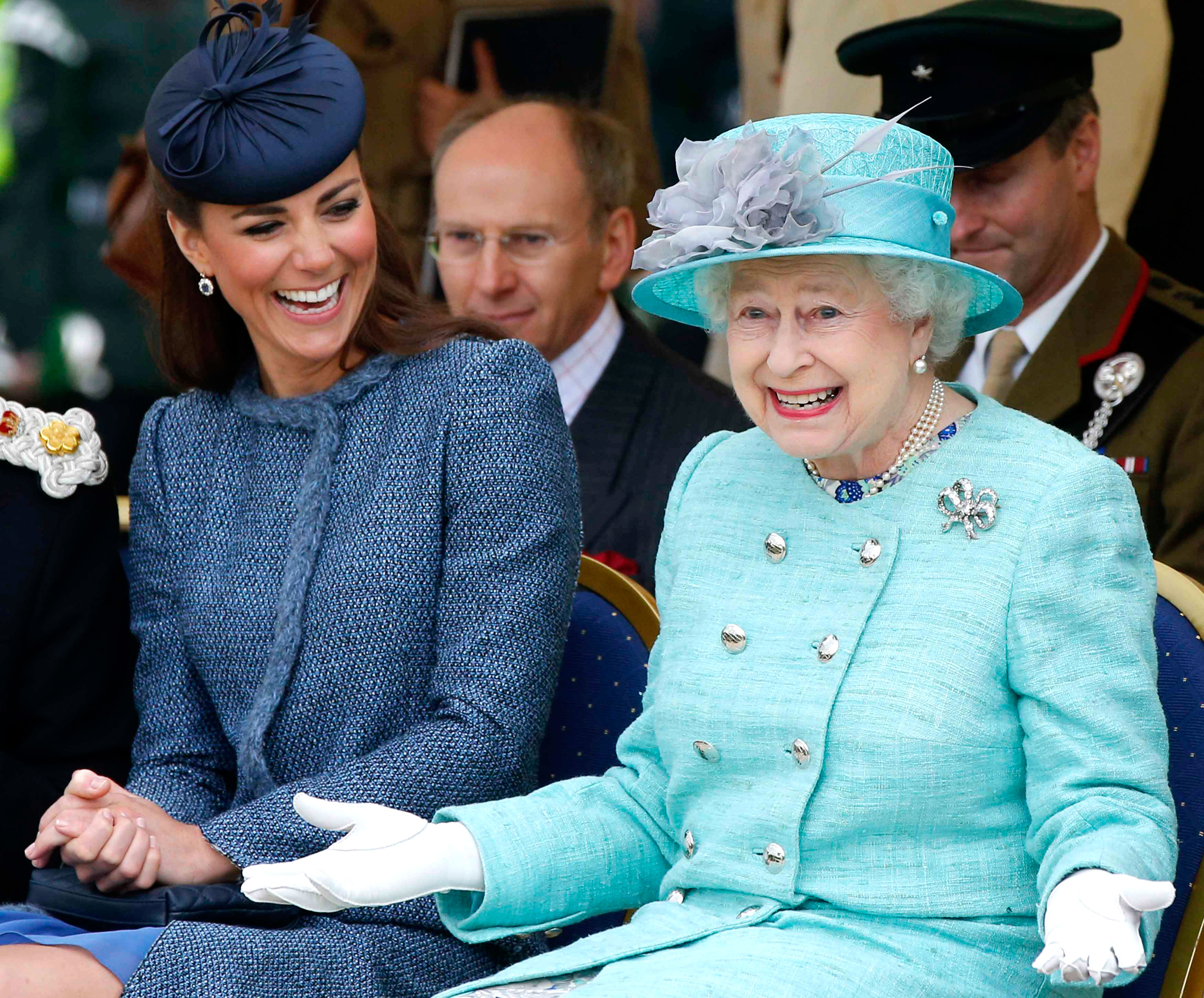 LOL! Queen Elizabeth II's Funniest Moments: Watch - Kate Middleton and Queen Elizabeth II watch part of a children's sports event while visiting Vernon Park during a Diamond Jubilee visit to Nottingham on June 13, 2012 in Nottingham, England.