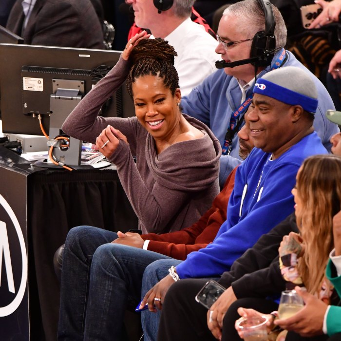 Regina King Is Nearly Taken Out by 76ers Player Joel Embiid at Basketball Game