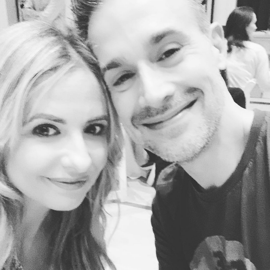 "Sarah-Michelle-Geller-Freddie-Prinze-Jr-valentines-day - The Buffy the Vampire Slayer alum shared a sweet black-and-white selfie with her husband of 16 years. ""Happy #valentines @realfreddieprinze,"" she captioned the Instagram shot."
