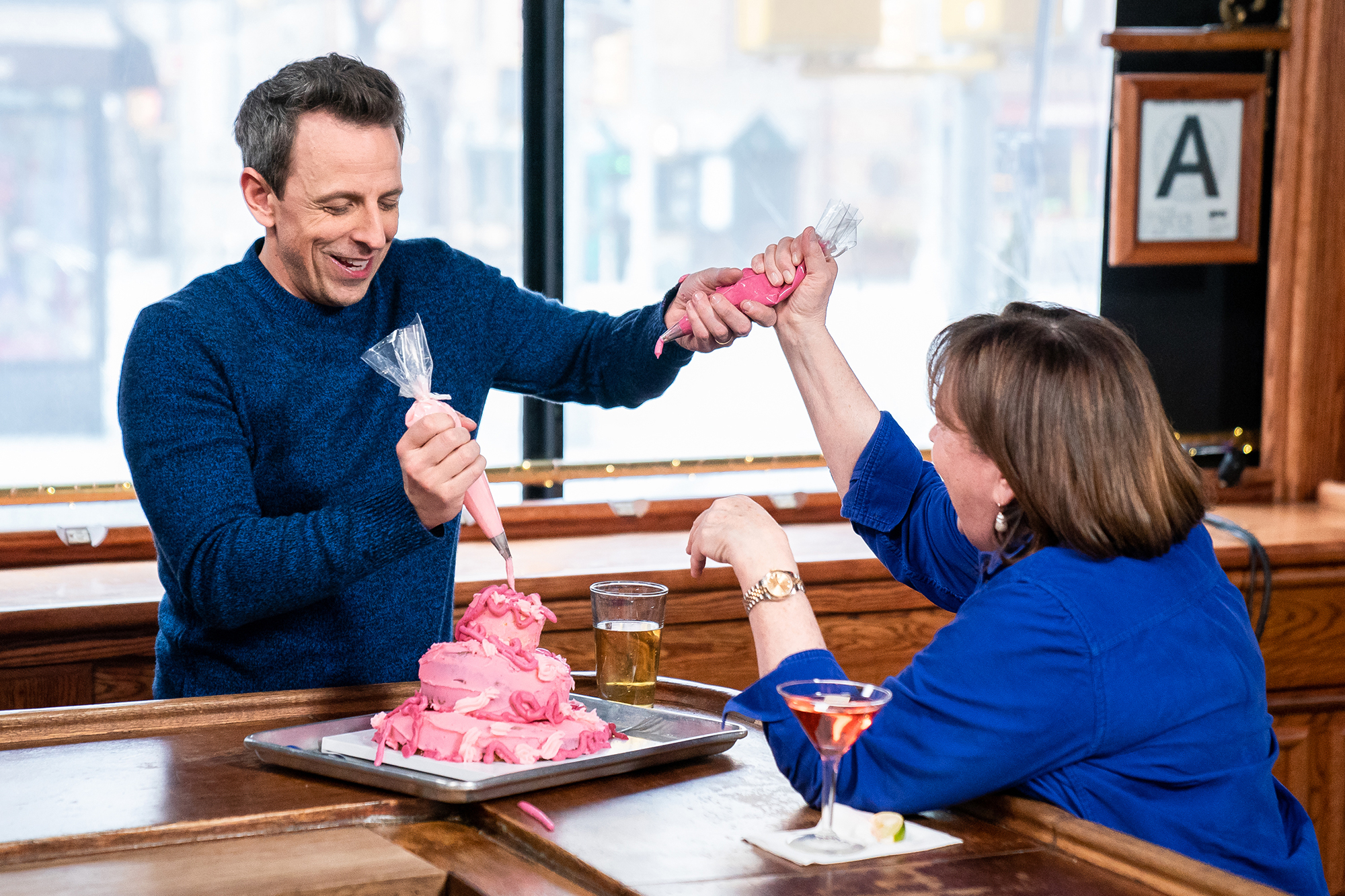 "Seth Meyers Went Day Drinking With Ina Garten and Drunkenly Made Her a Cake: 'I Prepared Something Special' - Seth Meyers and Ina Garten during ""Seth Goes Day Drinking with Ina Garten"" on February 6, 2019."