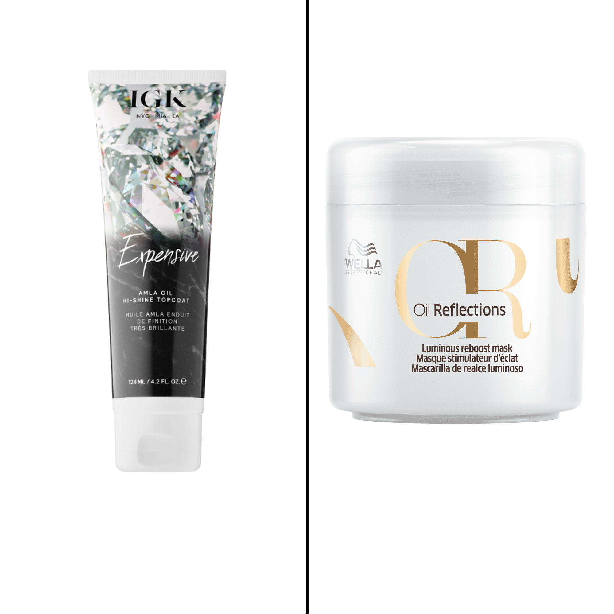 Splurge vs. Save: Salon-Worthy Hair Treatments For Every Type of Need - Splurge: IGK Expensive Amla Oil Hi-Shine Topcoat This in-shower gloss delivers a high-level of shine that's so bright it will likely turn heads. $29, sephora.com Save: Wella Oil Reflections Luminous Reboost Mask Made with camellia seed oil and white tea extract, this mask gives hair serious levels of radiance.