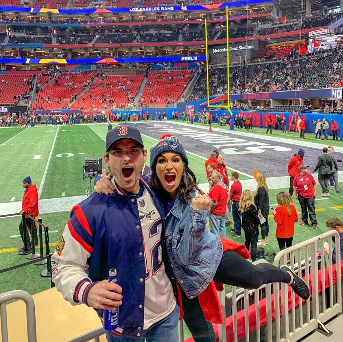 """Super-Bowl-53-Jared-Haibon-Ashley-Iaconetti - The Bachelor in Paradise stars cheered on the Patriots. """"Seventeen years ago to the day, I was over my uncles house watching Tom Brady and the Patriots beat the Rams to win their first Super Bowl,"""" Haibon wrote on Instagram."""