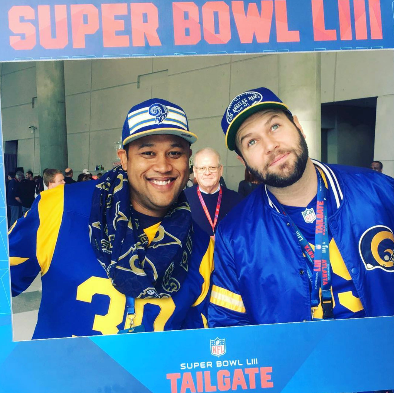 """Super-Bowl-53-Taran-Killam - The Saturday Night Live alum and his pal arrived in their best Rams attire. """"Two best friends from High School and the ghost of my dead grandfather. #SuperBowl GO @RAMS,"""" Killam wrote on Instagram."""